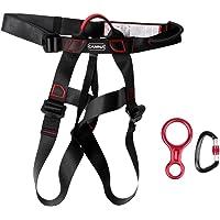 Segolike Climbing Sports Safety Sit Harness + 35KN Figure 8 Belay Device Descender + 25KN D-Ring Screw Lock Carabiner