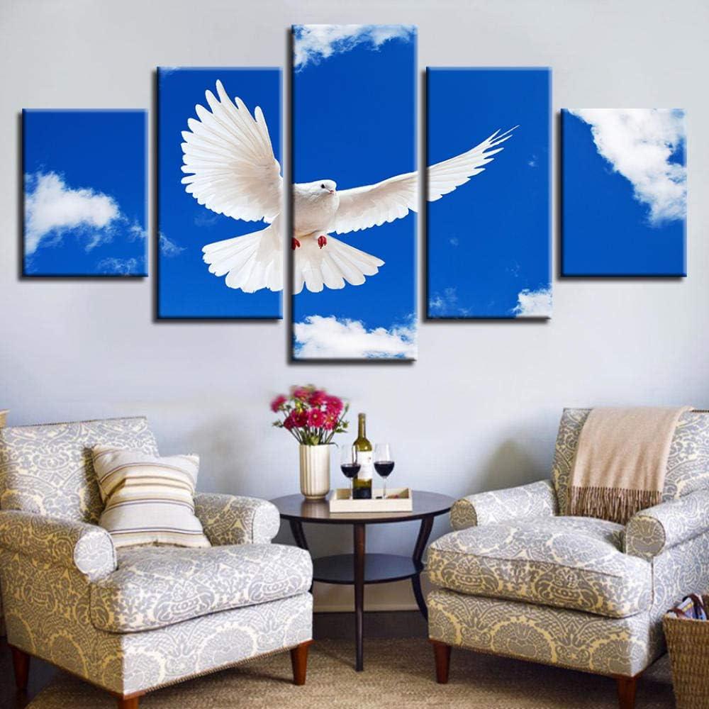 Ohne Rahmen SMXSSJT 5 St/ück Leinwand Gem/älde Friedenstaube Hd Wall Papers Art Canvas Print Modern Poster Modular Art Painting for Living Room Decor.20X35Cm*2//25X45Cm*2//20X55Cm*1