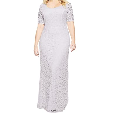 Nikkelong Large Size Solid Slim Lace Short Sleeved Maxi Dress Evening Party Dress for Women Plus