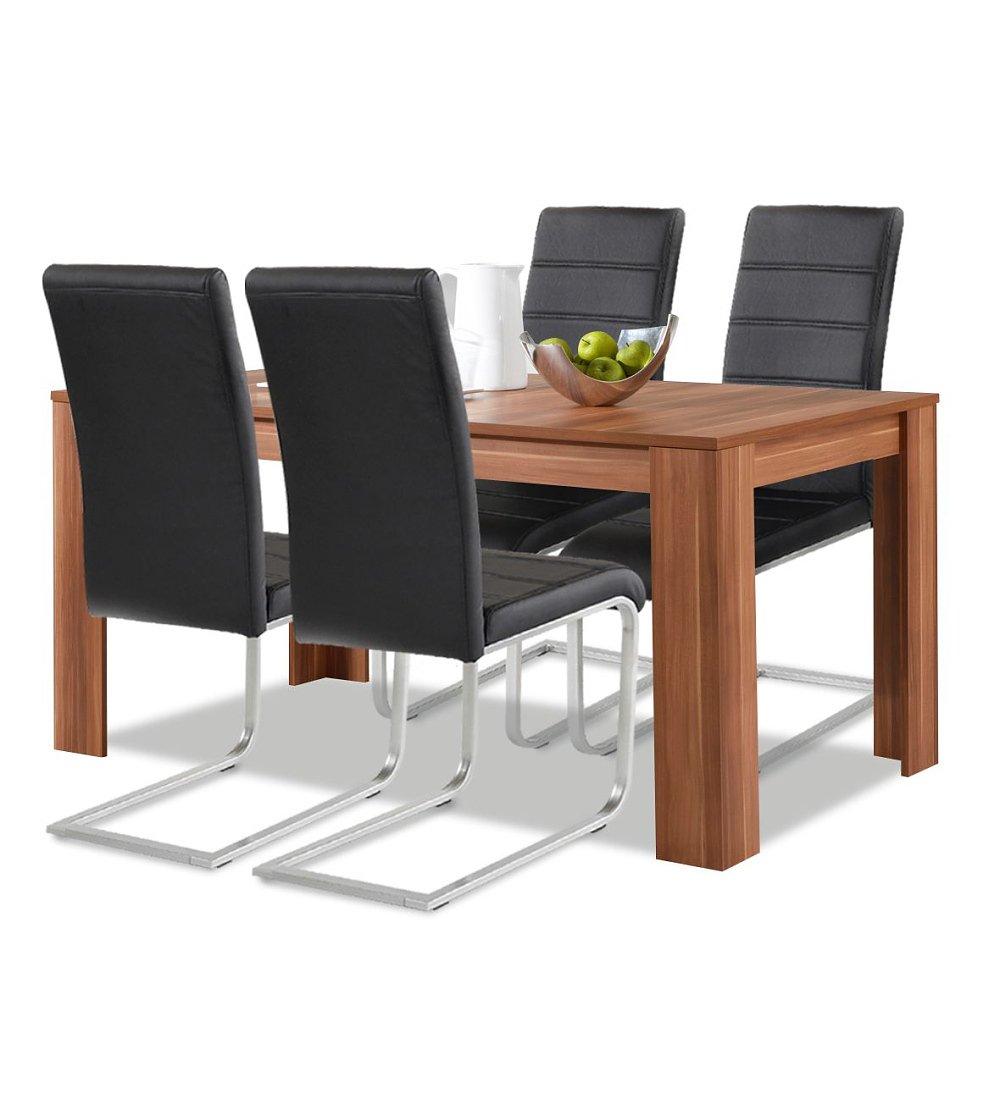 Esstisch nussbaum  Agionda® Esstisch + Stuhlset : 1 x Esstisch Toledo Nussbaum 140 x ...