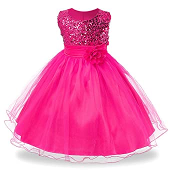 Review IIYoYo 3-9 Years Girls Sequins Flower Dress Party Wedding Porm Princess Lace Dresses