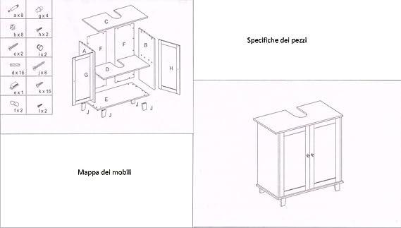 sottolavabo Mobiletto,in Legno Bianco,60 x 30 x 65cm HBS02-WEI MAIMAITI mobiletto da Bagno sottolavabo