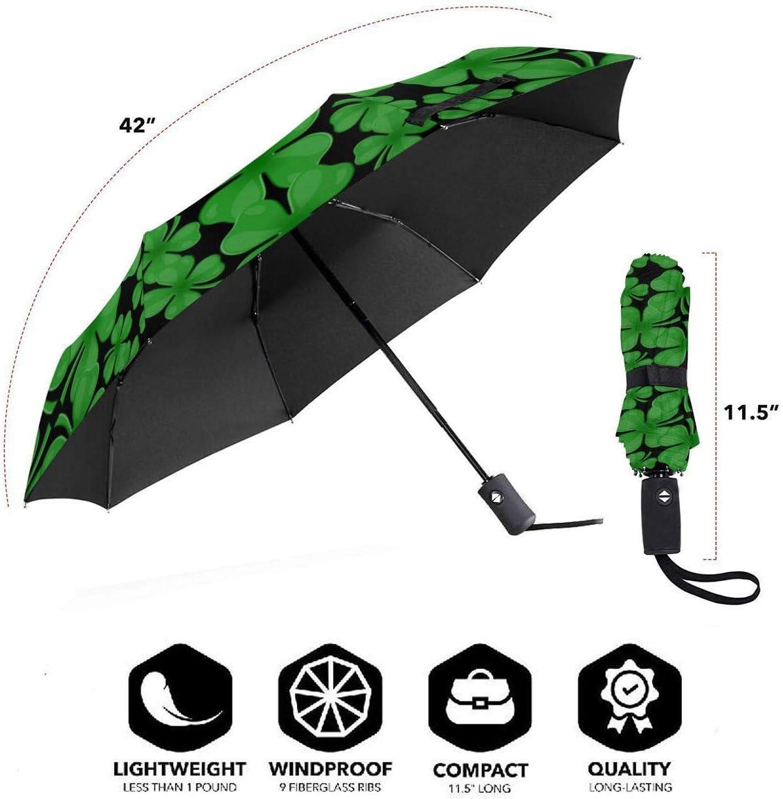Four Leaf Clover Automatic Tri-Fold Umbrella Parasol Sun Umbrella Sunshade
