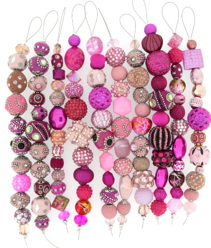Jesse James Strand Beads, Assortment Pink, Set of 10