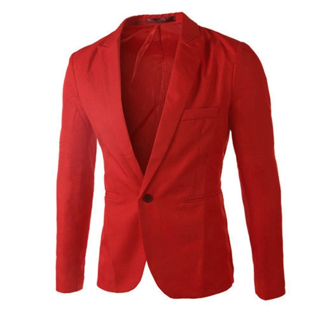 428db4b8f70b Cotton Blend,Men One Button Blazer,Solid Color Slim Fit Suit Jacket,Male  Lapel Pocket Suit Coat Tops Imported Button closure