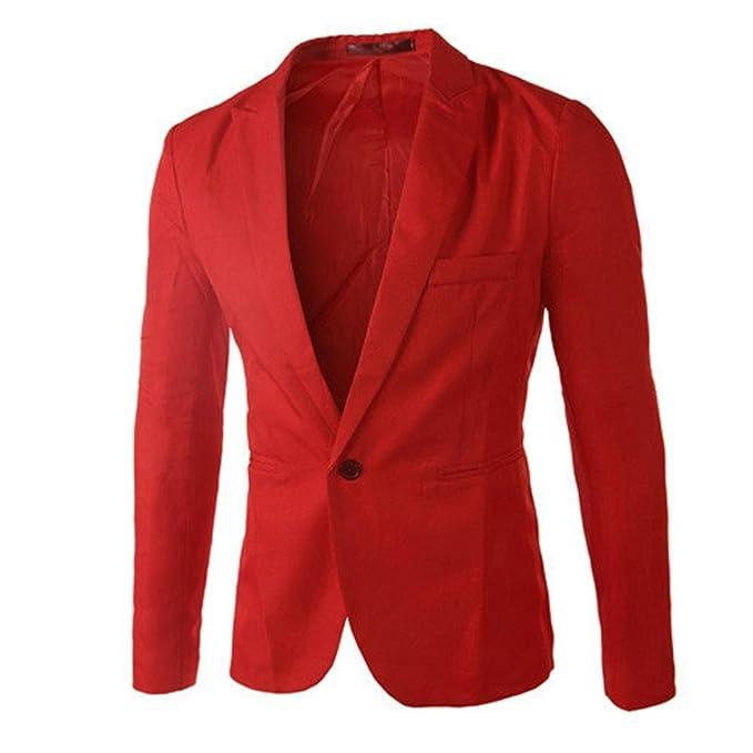 Amazon.com: bcdshop hombre Blazer rojo Casual Slim Fit traje ...