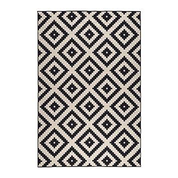 ikea lappljung ruta tapis poil ras blancnoir 200x300 cm - Tapis Noir Et Blanc