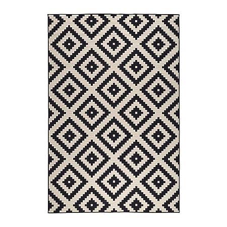 Ikea lappljung ruta rug low pile white black 200x300 cm
