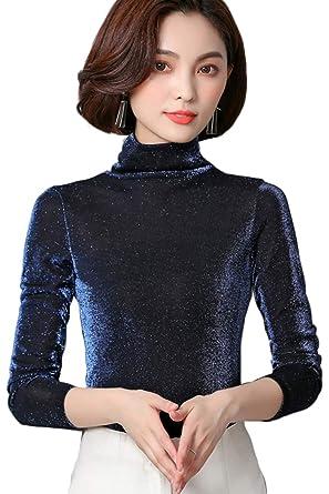4bbaf98f7e Zilcremo Camiseta De Manga Larga con Cuello De Tortuga Ajustada para Mujer   Amazon.es  Ropa y accesorios