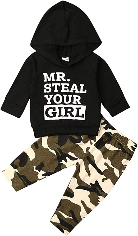 3Pcs Baby Girls Camouflage Tops Pant Headband Winter Long Sleeve Outfits Clothes
