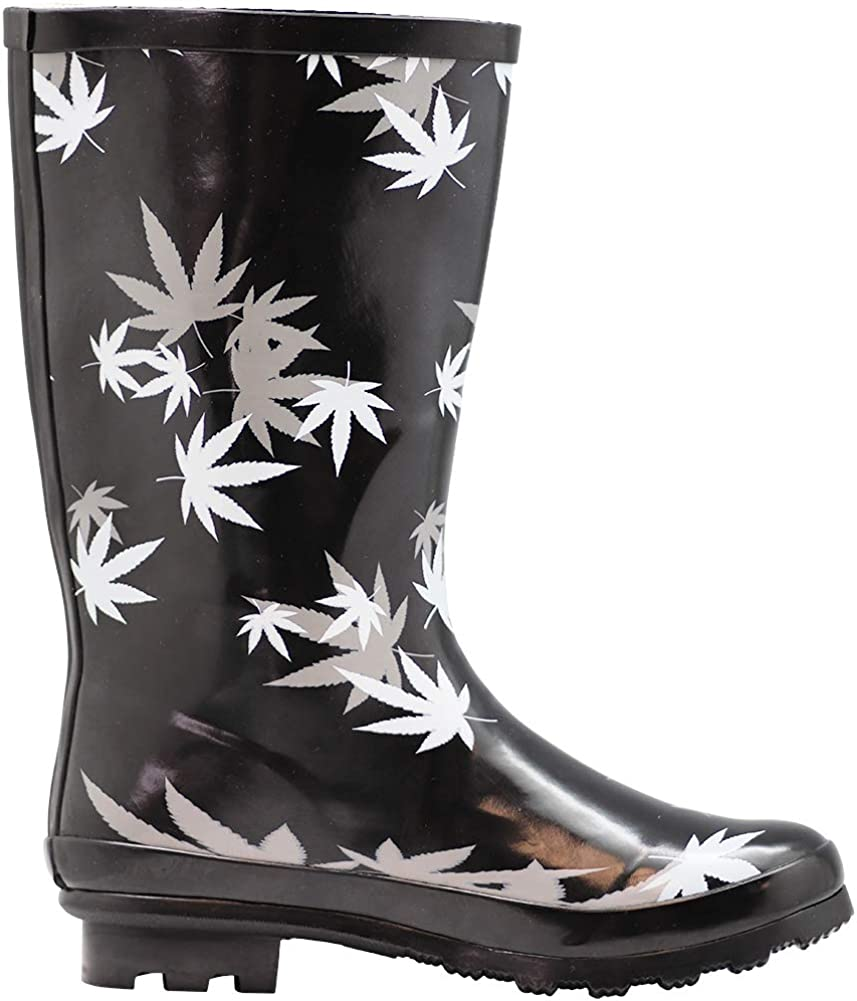 Glossy /& Matte Waterproof Mid-Calf Rainboots Solids and Prints NORTY Womens Hurricane Wellie