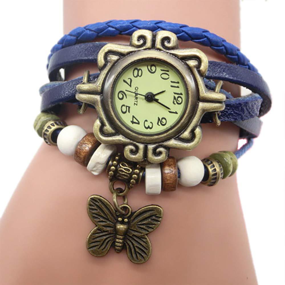 Pocciol Brown Retro Weave Wrap Lady Bead Butterfly Dangle Bracelet Bangle Quartz Wrist Watch (Coffee)