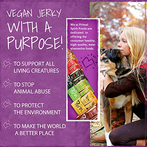 Primal Spirit Vegan Jerky - Our Sampler Pack, 10g. Plant Based Protein, Certified Non-GMO (''The Classics'' Thai Peanut, Mesquite Lime, Teriyaki, Hot & Spicy, Hickory Smoked, & Texas BBQ, 12-Pack, 1 oz) by Primal Spirit Foods (Image #2)