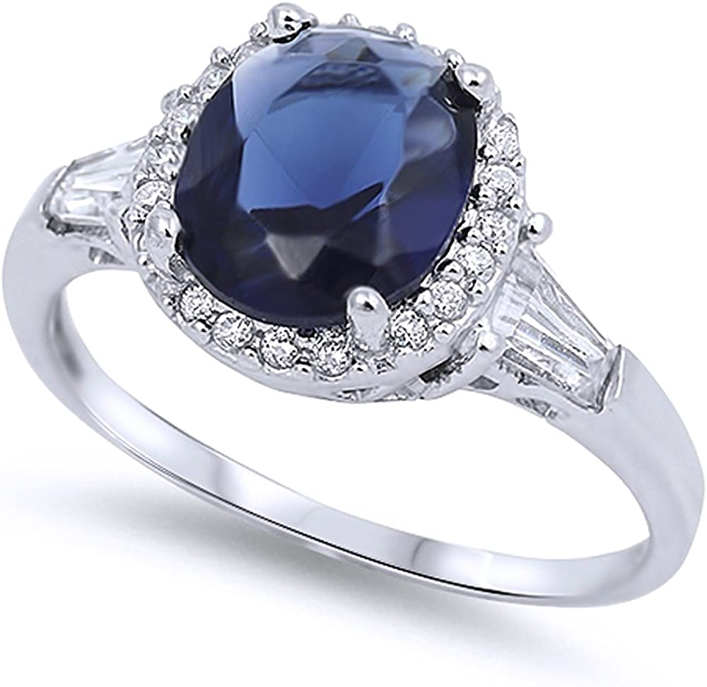 Sterling Silver 12mm Blue CZ Cluster Engagement Ring Set Engagement Ring
