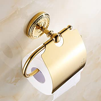 Toilet Paper Stand Bathroom Wall Accessories European-style Gold ...