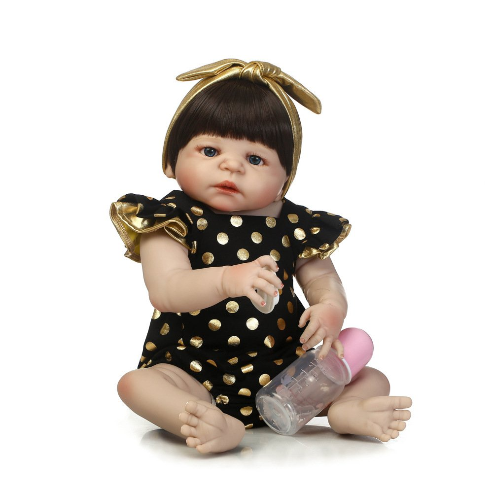 """QXmEi 22 """" 57 cm新しいアップグレード手作りVividリアルなソフトフルシリコンRebornベビー人形Newborn Doll Realキッズ成長に見えるGirlパートナー   B07DN5JWJZ"""