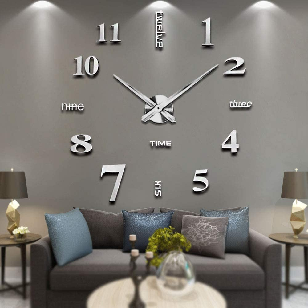 Vangold Modern Mute Diy Frameless Large Wall Clock 3d Mirror Sticker Metal Big Watches Home Office Decorations Silver Amazon Co Uk Kitchen Home