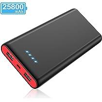 Yacikos Batería Externa 25800mAh [Nuevo Diseño Negro-Rojo] Power Bank Ultra Capacidad,Cargador Portátil Móvil con 2 Puertos USB y Luces LED, Cargador ...