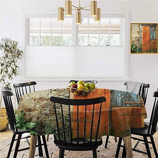 Amazon Com Round Tablecloth Vintage Tablecloth Shutters Old French Wooden Door Decoration For Dining Tables Buffet Parties And Camping Diameter 62 Home Kitchen