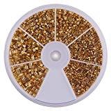 PandaHall Elite 1 Box Golden Brass Tube Crimp Beads Sets in 3 Sizes for Jewelry Making