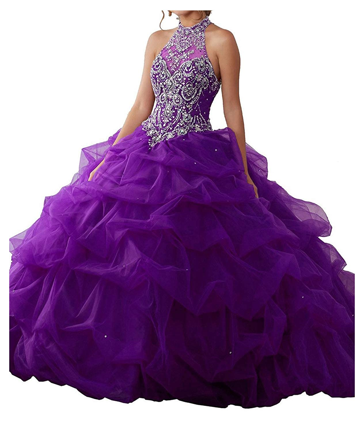 Purple Yang 2017 Sweet Women High Neck Backless Pageant Girls Quinceanera Dresses