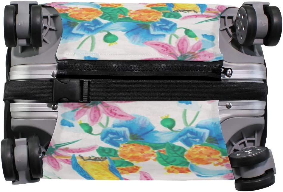 FOLPPLY Watercolor Parrot With Floral Print Luggage Cover Baggage Suitcase Travel Protector Fit for 18-32 Inch