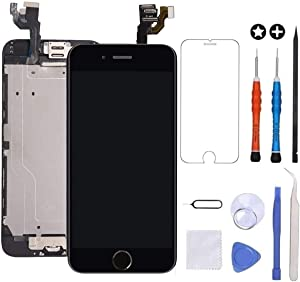 GULEEK for iPhone 6 Plus Screen Replacement Black Touch Display LCD Digitizer Full Assembly with Front Camera,Proximity Sensor,Ear Speaker and Home Button Including Repair Tool and Screen Protector