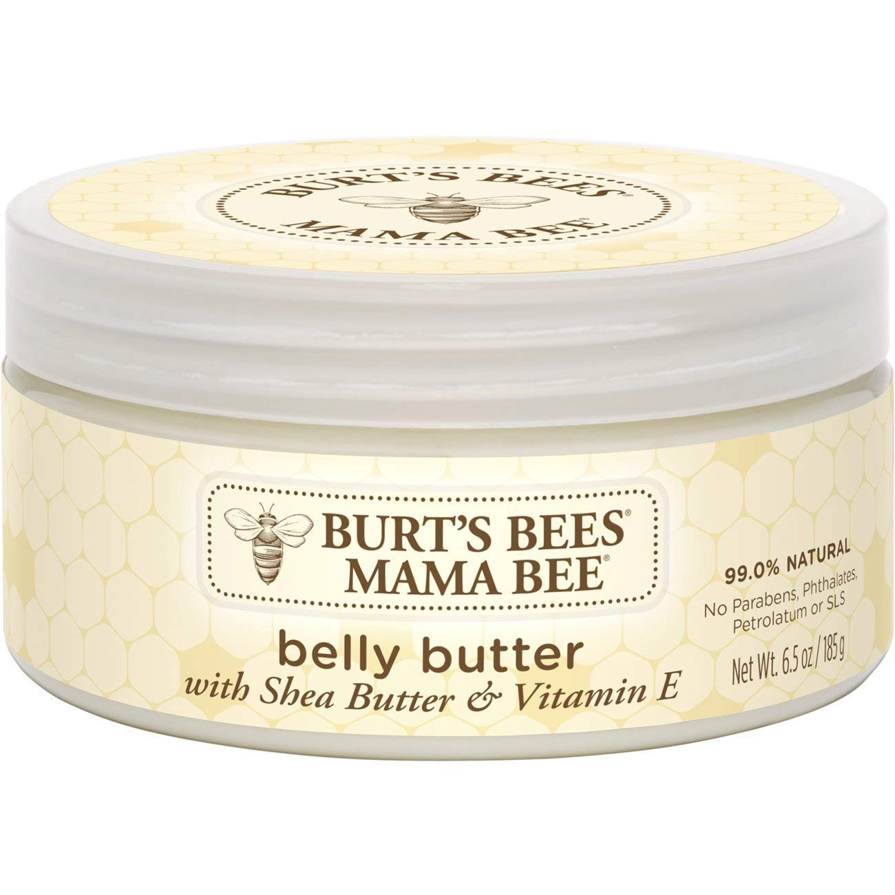 Burt's Bees Mama Bee Belly Butter, Fragrance Free Lotion, 6.5 Ounce Tub, Pack of 2