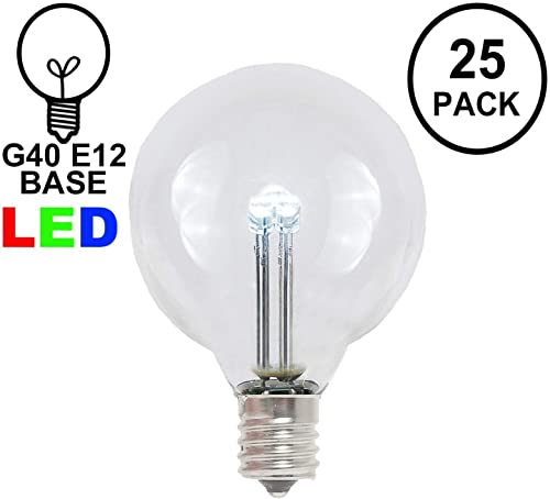 Novelty Lights 25 Pack G40 LED Outdoor String Light Patio Globe Replacement Bulbs, Pure White, 3 LED s Per Bulb, Energy Efficient