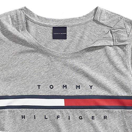 c0cfc5de91aa Tommy Hilfiger Women's T Shirt with Magnetic Closure Signature Stripe Tee,  Cs Medium Grey Hearope