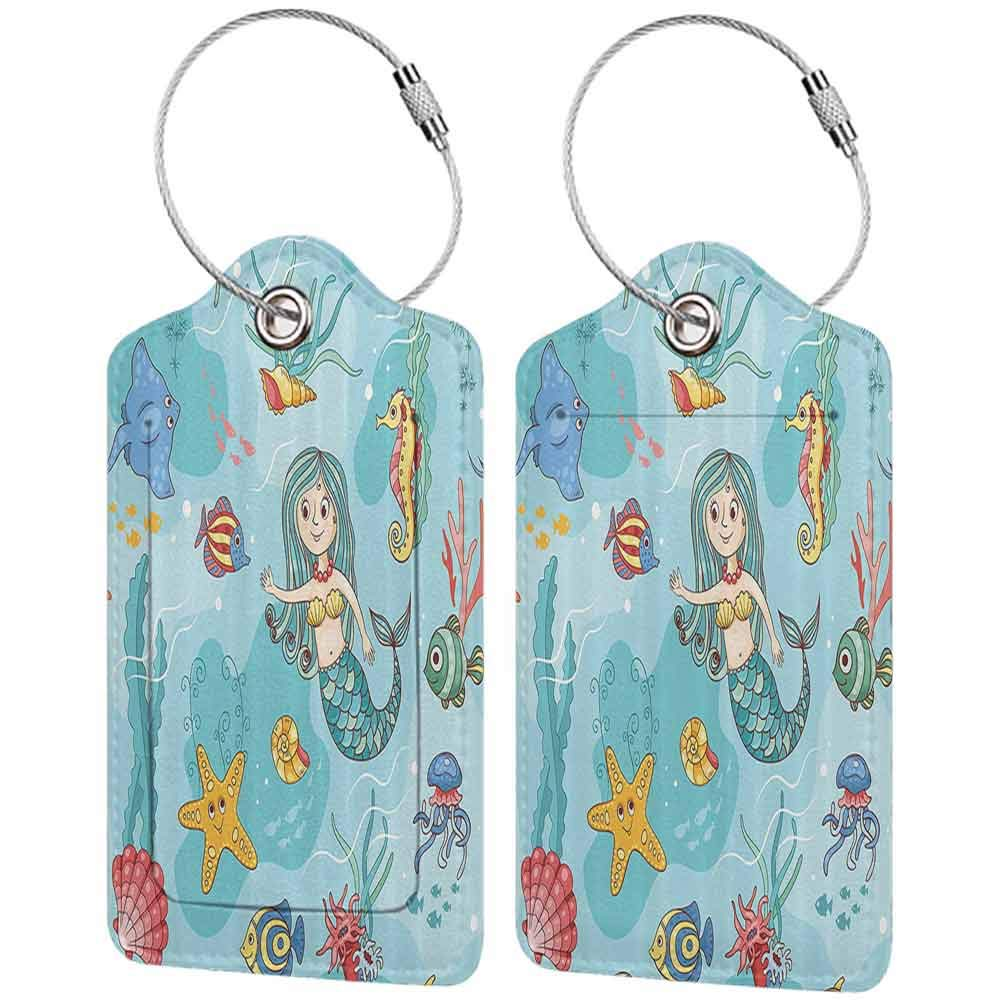 Multicolor luggage tag Mermaid Decor Collection Pattern with Mermaid Wildlife Tropical Jellyfish Goldfish Cheering Turtle Seahorse Design Hanging on the suitcase Blue Teal W2.7 x L4.6