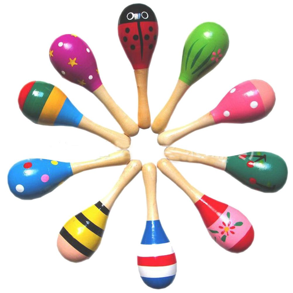 Wooden Maracas 10PCS Wood Rattles Shakers Musical Educational Toys Great Party Favor for Children Random Color YCLO