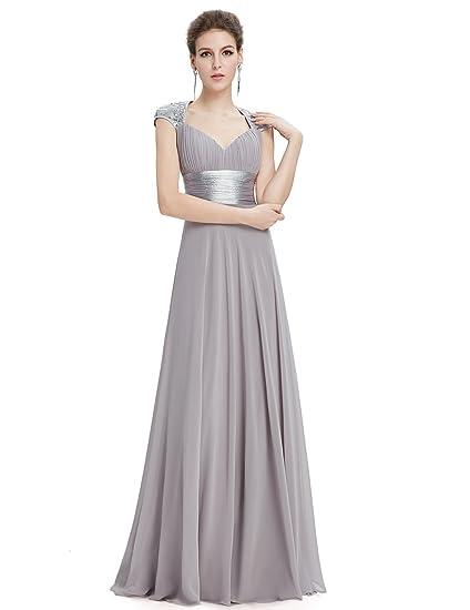 3c2f6448e894 Ever Pretty Women's Chiffon Sexy V-Neck Ruffles Empire Line Evening Dress  8UK Grey EP09672GY04