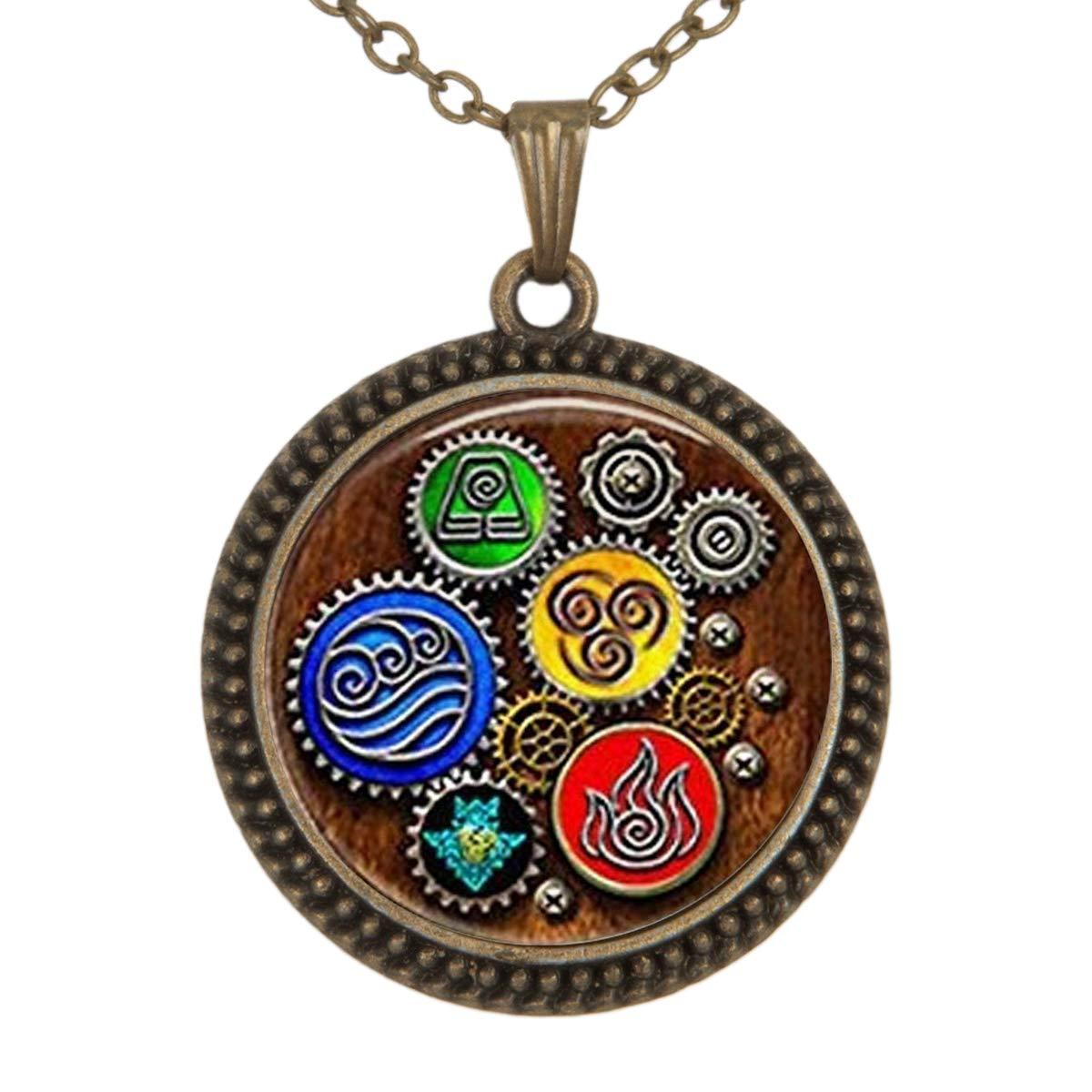 Family Decor Zeitschaltung Pendant Necklace Cabochon Glass Vintage Bronze Chain Necklace Jewelry Handmade