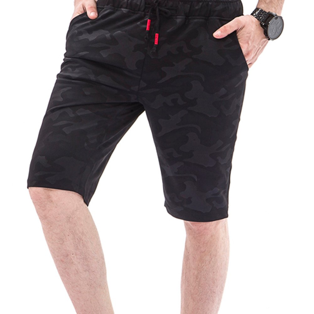 Farjing Mens Shorts Clearance,Men Camouflage Casual Pocket Beach Shorts Overalls Work Casual Trouser Pants(XL,Black)