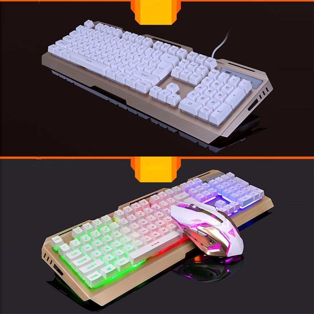Hisoul Gaming Keyboard, Rainbow LED Backlit USB Wired PC Gaming Compact ABS Mechanical Keyboard for LOL/PUBG/Fortnite/Wow/Dota/OW Gamer (Gold) by Hisoul (Image #2)