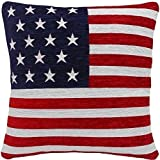 """STARS AND STRIPES AMERICAN FLAG CHENILLE RED WHITE BLUE 18"""" CUSHION COVER"""