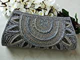 Elegant Gray beaded wallet # Grey Bridal Clutch # Indian wedding bag # Bridal evening party purse # hand beaded art deco