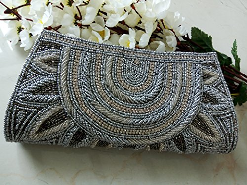 Elegant Gray beaded wallet # Grey Bridal Clutch # Indian wedding bag # Bridal evening party purse # hand beaded art deco by Artcraving