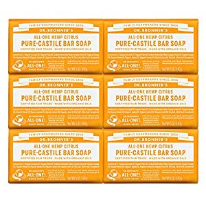 Dr. Bronner's - Pure-Castile Bar Soap (Citrus, 5 ounce, 6-Pack) - Made with Organic Oils, For Face, Body and Hair, Gentle and Moisturizing, Biodegradable, Vegan, Cruelty-free, Non-GMO