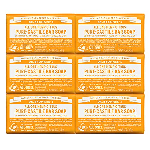 Dr. Bronner s – Pure-Castile Bar Soap Citrus, 5 ounce, 6-Pack – Made with Organic Oils, For Face, Body and Hair, Gentle and Moisturizing, Biodegradable, Vegan, Cruelty-free, Non-GMO