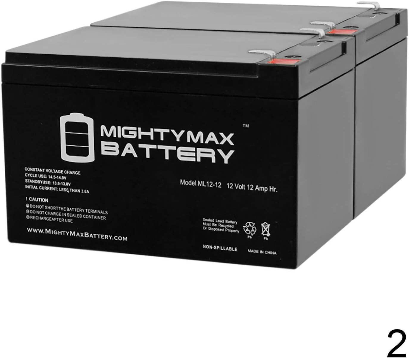 Mighty Max Battery ML12-12 - 12V 12AH F2 SLA AGM DEEP-Cycle Rechargeable Battery - 2 Pack Brand Product