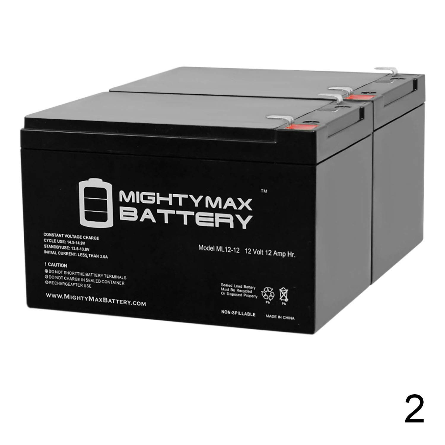 Mighty Max Battery 12V 12Ah F2 Scooter Battery for Enduring CB12-12, CB-12-12 - 2 Pack Brand Product by Mighty Max Battery