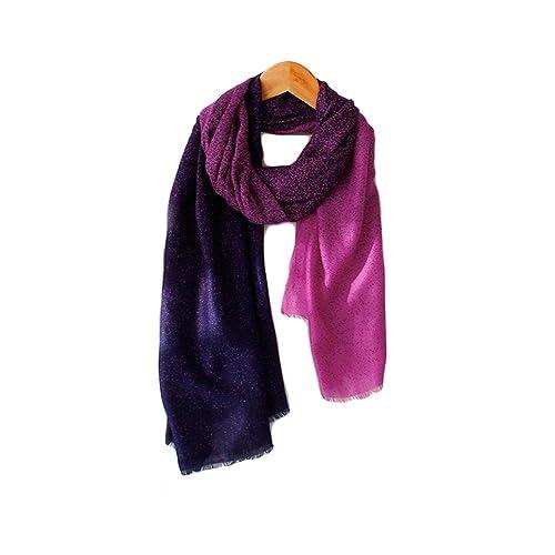Donna Morbido Colore Gradiente Extra Grande Sciarpe Stole Scialli Wrap(Rosa Rossa)