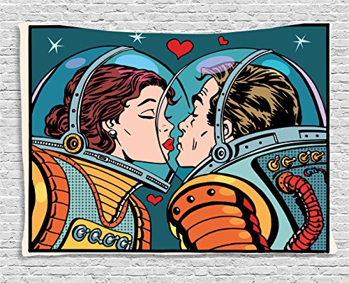 Tapestry Ambesonne Astronauts Kissing Multicolor