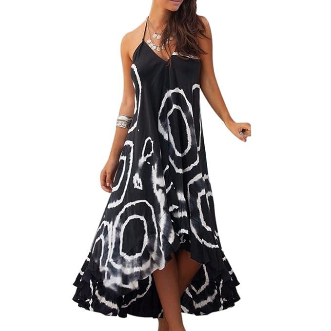 9d50b06ac235c Aurorao Women Sexy Backless Chiffon Long Dress Summer Boho Party Evening  Beach Sleeveless Dresses Maxi Dress Sun Dress