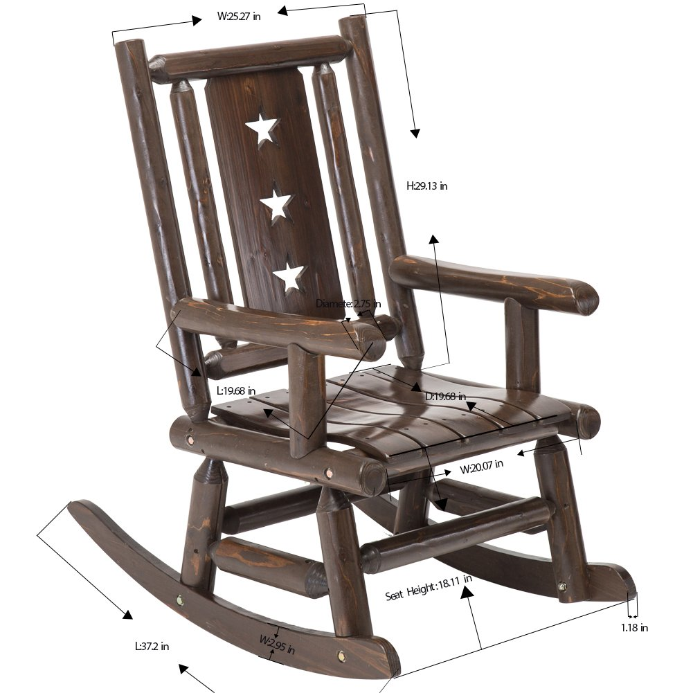 Beau Amazon.com : Wood Outdoor Rocking Chair Rustic Porch Rocker Heavy Duty Log  Chair Wooden Patio Lawn Chairs Oversize Furniture For Adult : Garden U0026  Outdoor