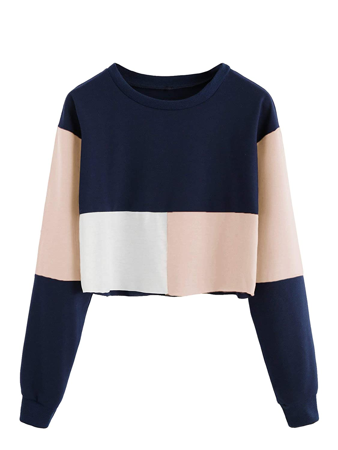 Multicolor7 Verdusa Women's Round Neck Long Sleeve color Blocked Crop Sweatshirt