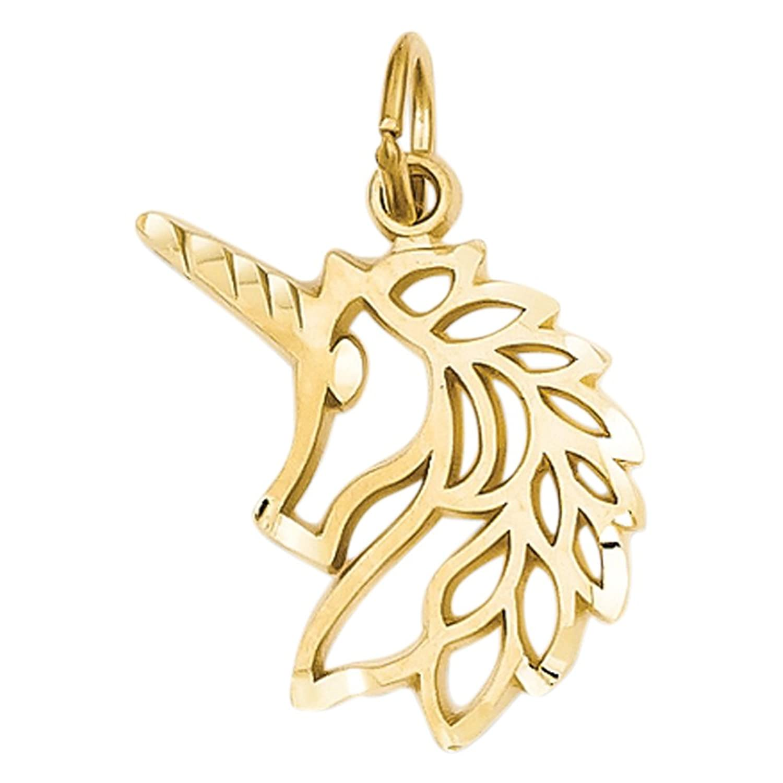 14k Unicorns Head Pendant, Best Quality Free Gift Box