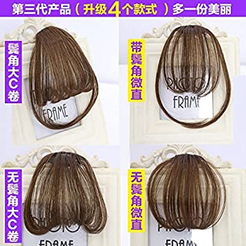 Amazon.com : 2018 fake bangs real hair invisible oblique fre wig ...
